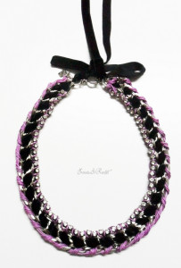 Pink and black velvet statement necklace