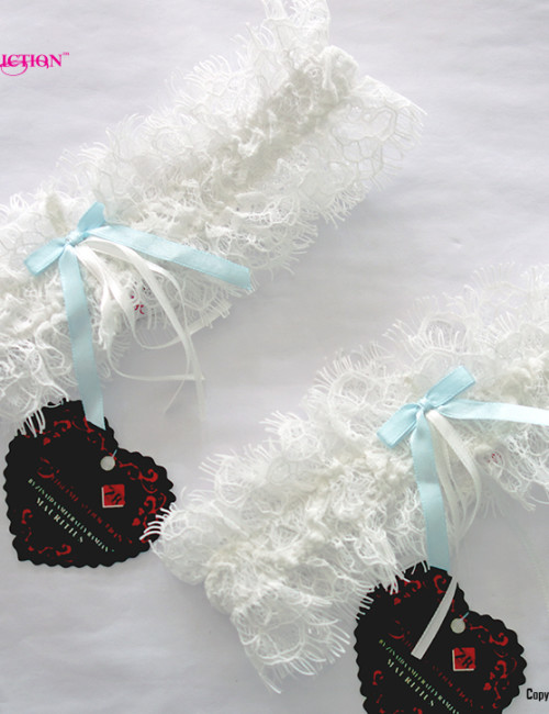 leavers Lace & Blue ribbon